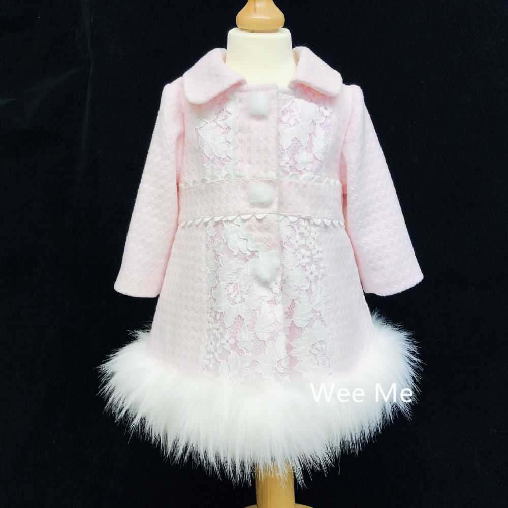New Arrival Baby Girl Stunning Winter Coat with Fur Bottom